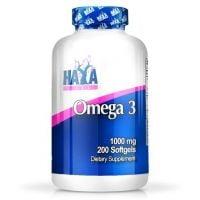 Omega 3 1000mg envase de 200 softgels del fabricante Haya Labs (Fuente Animal)