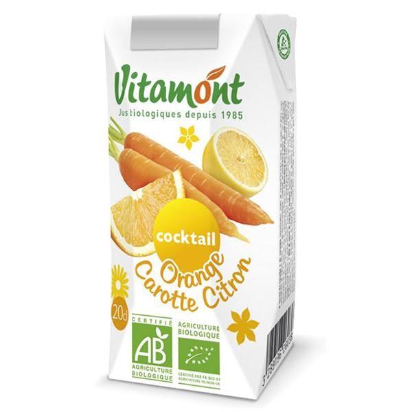 Zumo de naranja-zanahoria-limón Vitamont envase de 6 x 20cl de la marca Biocop (Zumos y Refrescos)