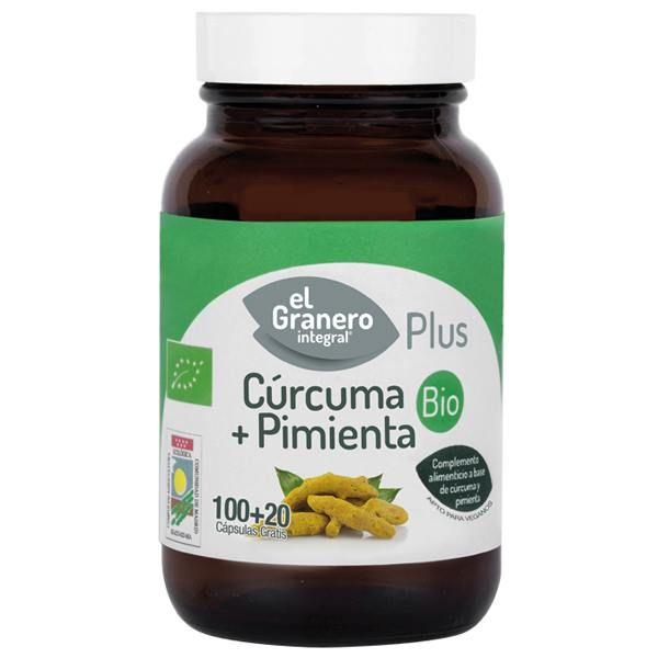 Cúrcuma + Pimienta Bio de 120 cápsulas de la marca El Granero Integral (Mejora General)