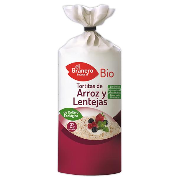 Tortitas de Arroz y Lentejas Bio de 115 g del fabricante El Granero Integral (Pancakes, Tortillas y Creps)