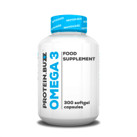 Omega 3 envase de 300 softgels de la marca Protein Buzz