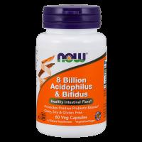 8 Billones de Acidophilus y Bifidus de 60 cápsulas vegetales de la marca Now Foods (Digestivos)