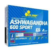 Ashwagandha 600 Sport envase de 60 cápsulas de Olimp Sport (Pre Entrenamiento sin Estimulantes)