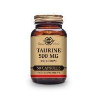 Taurina 500mg de 50 cápsulas vegetales de la marca Solgar (Aminoácidos)
