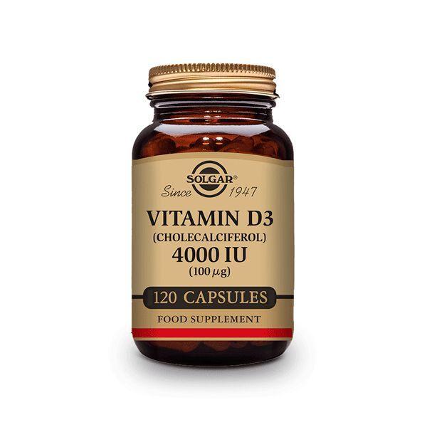 Vitamina D3 4000 IU envase de 100 mg de la marca Solgar (Vitaminas)