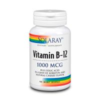 Vitamina B12 1000mcg envase de 90 tabletas masticables del fabricante Solaray