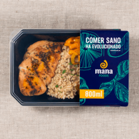 Cajun chicken with integral rice and vegetables