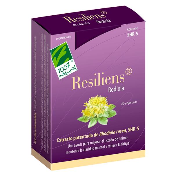 Resiliens Rodiola de 40 cápsulas de la marca 100%Natural (Anti-Estrés)