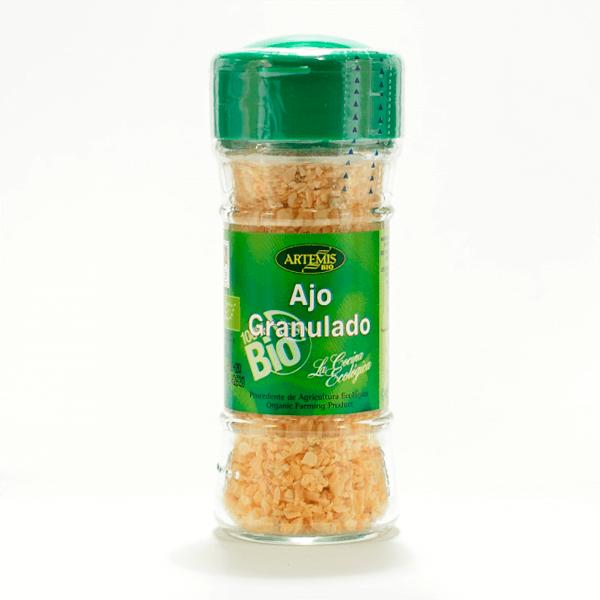 Tarro Ajo granulado Eco envase de 50gr de Artemis BIO (Aderezos y Sazonadores bajos en Sodio)