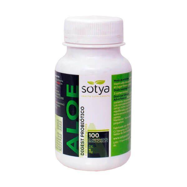 Aloe Digest Probiótico envase de 100 tabletas masticables de la marca Sotya Health Supplements (Digestivos)