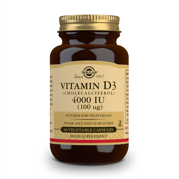Vitamina D3 4000 IU envase de 100 mg del fabricante Solgar (Vitaminas)