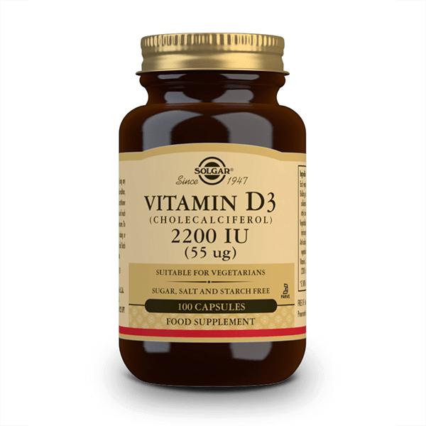 Vitamina D3 2200 UI envase de 55 μg del fabricante Solgar