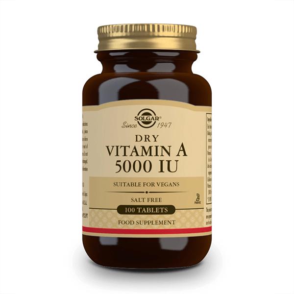 Vitamina Seca A 5000IU - 100 Comprimidos Solgar - 1