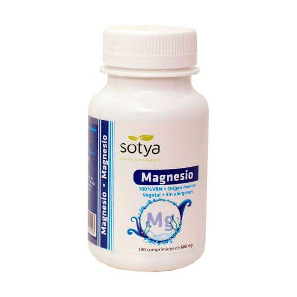 Magnesio 600mg envase de 100 tabletas de la marca Sotya Health Supplements