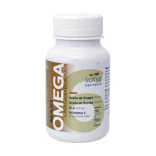 Maxi Omega Onagra + Borraja 700mg envase de 110 softgels del fabricante Sotya Health Supplements (Anti-Envejecimiento)
