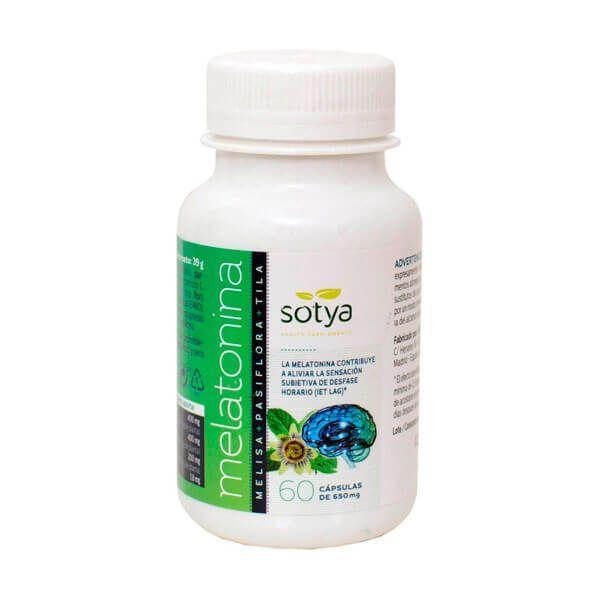 Melatonina Melisa + Pasiflora + Tila envase de 60 cápsulas de la marca Sotya Health Supplements (Mejora del sueño)
