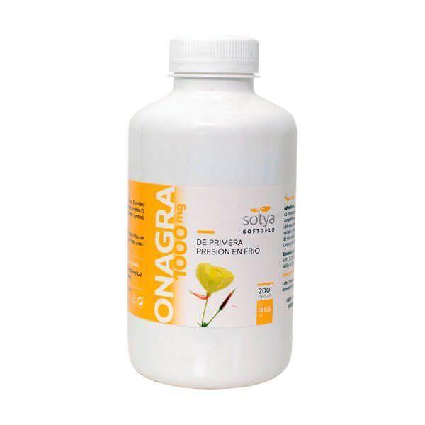 Onagra 1000mg envase de 200 softgels de la marca Sotya Health Supplements (Aceite de Onagra)