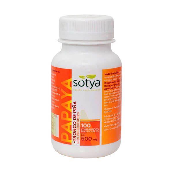 Papaya + Tronco de Piña 600mg de 100 tabletas masticables de la marca Sotya Health Supplements (Digestivos)