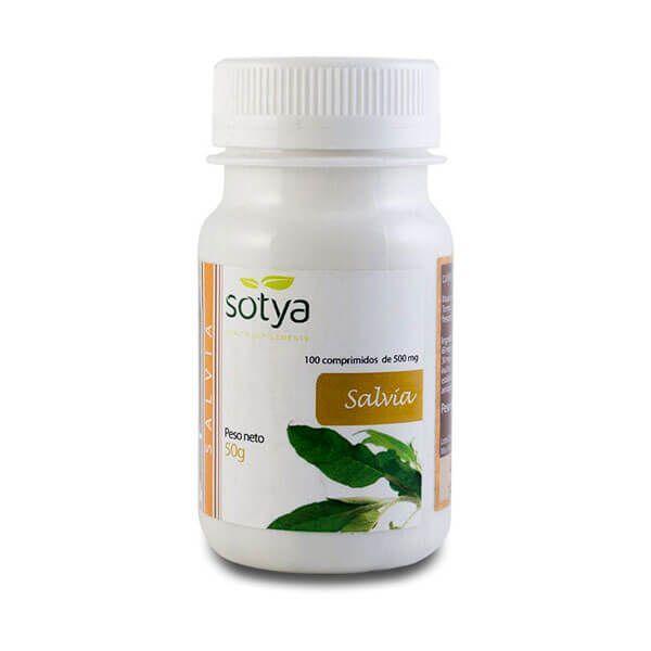 Salvía 500mg de 100 tabletas de la marca Sotya Health Supplements (Anti-Estrés)
