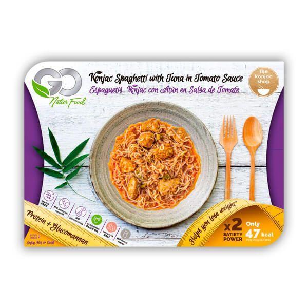 Konjac spaghetti with tuna in tomato sauce