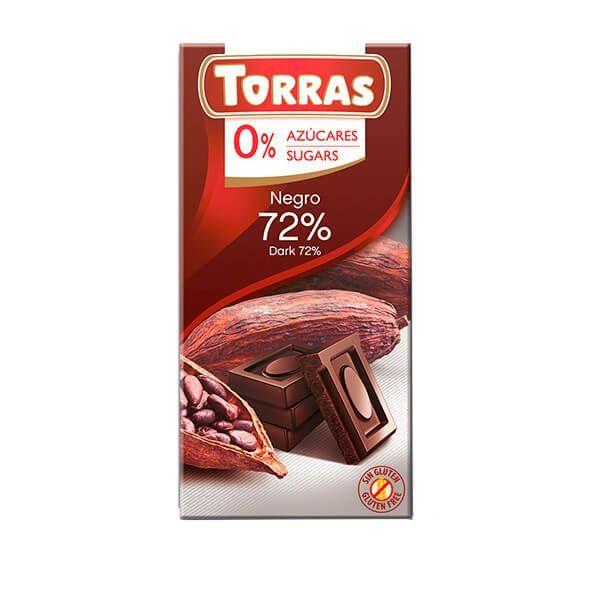 Chocolate Negro 72% Cacao Sin Azúcar - 75g