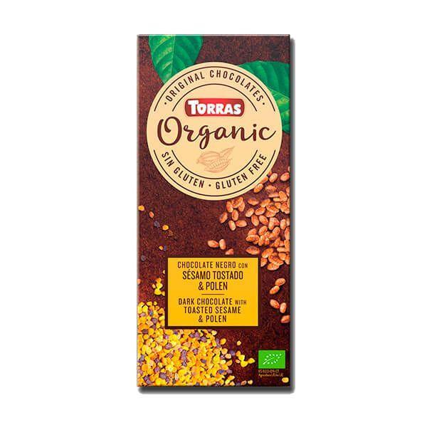 Chocolate Orgánico Negro con Sésamo y Polen - 100g