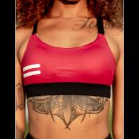 Sujetador Deportivo Bar Layered Rojo Oscuro