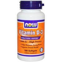 Vitamina D3 1000IU envase de 180 softgels del fabricante Now Foods