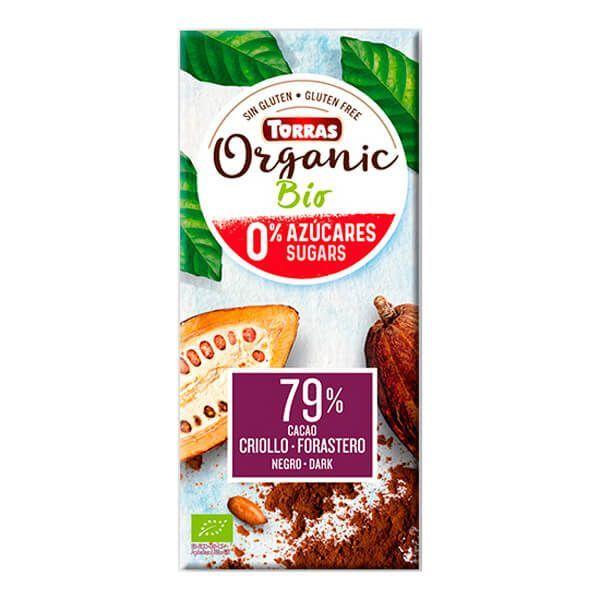 Chocolate 79% Cacao Criollo Forastero sin Azúcar - 100g