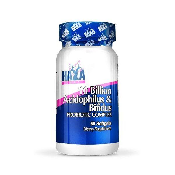 Complejo Probiotico 10 billones de Acidofilus y Bifidus envase de 60 cápsulas del fabricante Haya Labs (Probioticos)