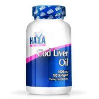 Aceite de Hígado de Bacalao 1000mg de 100 softgels de la marca Haya Labs (Aceite de Pescado)