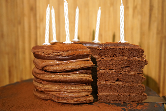 Tortitas de aniversario (Pastel de tortitas fitness)
